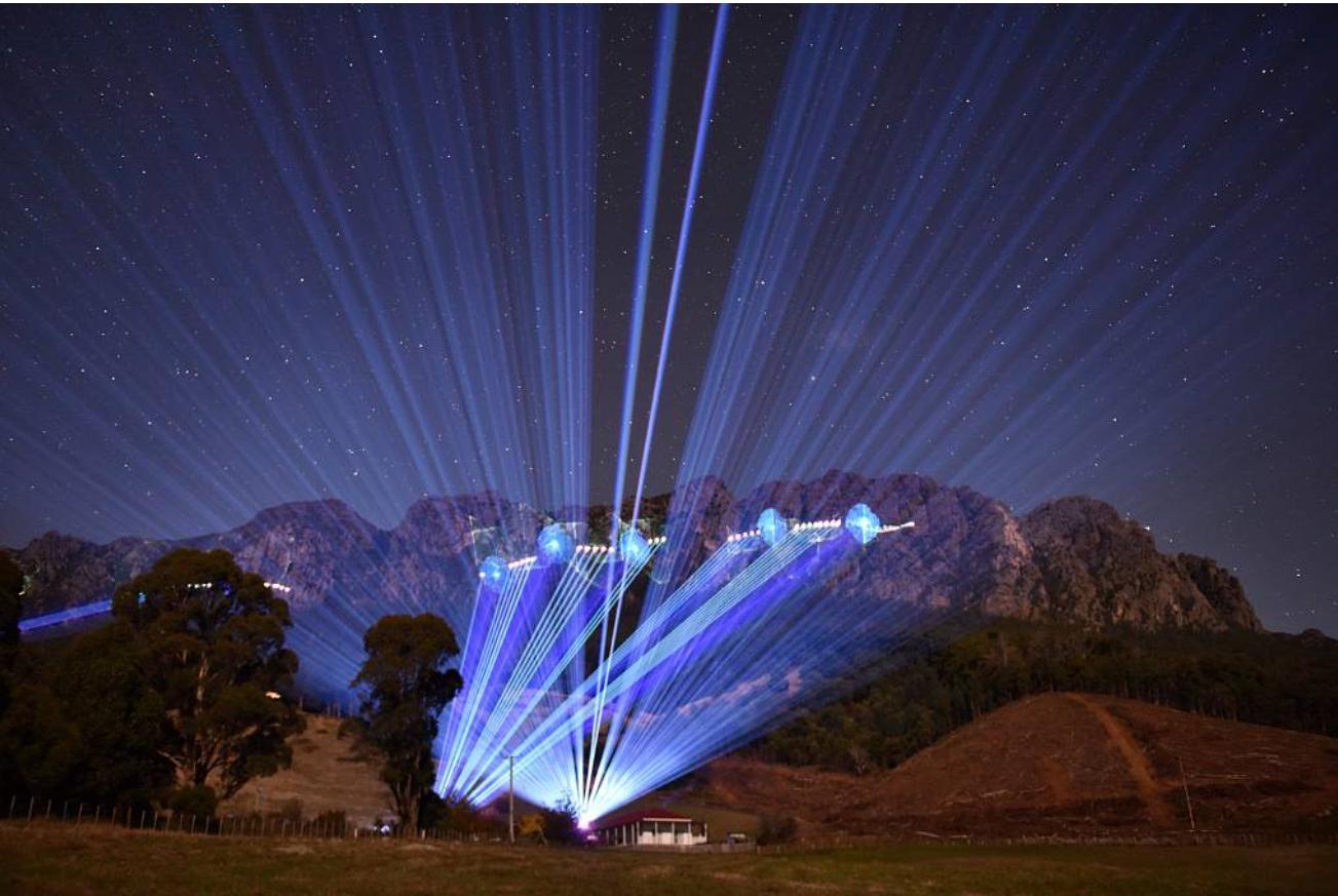 Mt Roland Tasmania Largest animated laser projection